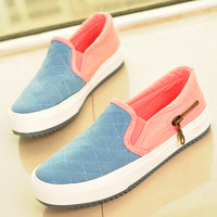 Free shipping2014 spring low canvas lazy zipper pedal cotton-made shoes casual shoes color block decoration sneakers