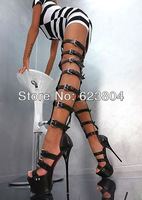 2014 platform sexy high heels over-the-knee summer boots cheap brand gladiator sandal shoes