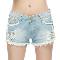AWSpring summer 2013 Korean version of the influx of women lace denim shorts hot pants big yards loose straight