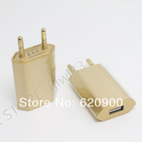 wholesale 50pcs Gold  EU Plug Home Travel Wall AC Power Charger Adapter For Galaxy S3 S4 Note 2 3 iPhone 4S 5 5S 5C iPad 3 new