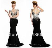 Stunning Crystals White Mermaid Black Women Evening Formal Plus Size New Arrival Diamonds Prom Dresses 2014  Short Sleeve