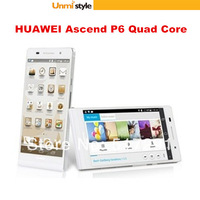 "Unlocked Cell Phone 4.7"" HUAWEI Ascend P6 Smart Phone Quad Core 8GB ROM 2GB RAM Dual Camera 5MP 8MP 3G GPS Android 4.2.2 White"