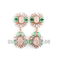 Fashion Designer Jewelry Alloy and Colorful Rhinestone Flower Chunky Earrings for Women