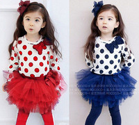 Cute Big Dots Pattern Baby Girl's Good Quality Spring Long Sleeve T-shirt+Pantskirt Suits,95% cotton,Bubble Skirt,2 Color+5 Size
