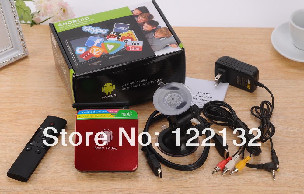 Android 4.2.2 Google Smart Skype A20 Dual Core TV Box GV-11D Mini PC HDMI 1GB RAM 4GB Built-in Camera + Mic Free Shipping(China (Mainland))