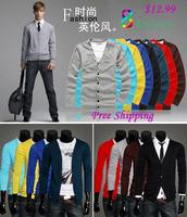 Wholesale New 2014 Fashion Spring Autumn Men Sweater Long Sleeve Men's Cardigans Knitwear 8 Colors