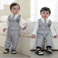 retail free shipping baby boy spring autumn tie gentleman clothing sets plaid vest tie t shirt pants hat 5pcs suits fashion