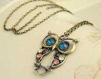 Free shipping 20 pcs/lot vintage bronze owl pendant necklace gemstone jewelry
