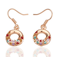New 18K Rose Gold Plated Women's Drop Earrings Hook Colorful Austrian Crystal E021