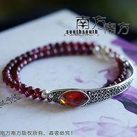 Laoyinjiang handmade pure silver jewelry thai silver rose garnet Women vintage bracelet -