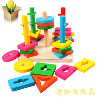 Five column suit blocks children wooden puzzle four column geometry set column disassembling combined toy