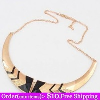 2014 Hot Punk Vintage Fashion Rock Rose Red Black Arrow Gold Plated Fashion Exaggerated Chunky Bib Choker Necklace