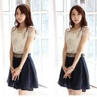 2014 New Spring Fashion skirt  female elegant  A-Line women skirts Beading lady cute mini skirt women clothing  8053