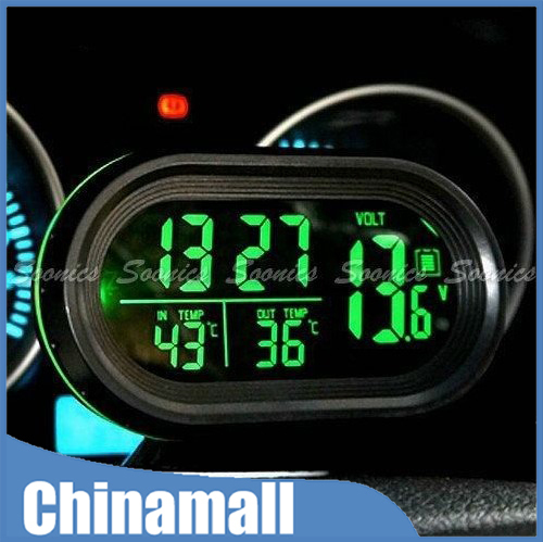 Digital Car Inside Outside Thermometer Meter Voltmeter Clock Alarm Backlight Free Shipping & Drop Shipping(China (Mainland))