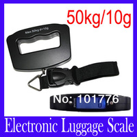 Free shipping New 50Kg/10g LCD Digital Electronic Portable Hanging Luggage Weight Hook Scale ,5pcs/lot