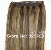 "140g #4/27 brown mix blonde free shipping straight 16""-28"" 5clips 1pcs set 100% remy human hair clips in/on extensions"