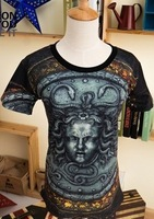 2014 Brand New Spring&Summer Holdem Denim 3D Medusa Print ,Man's Print T shirt, Women Printed Short-sleeved Tees tops