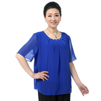 Large Quinquagenarian women's summer short-sleeve o-neck plus size chiffon shirt top loose mother clothing shirt t-shirt female