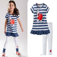 Lovely girl`s summer short sleeve tops + leggings sets female child lovely heart cartoon bear stripe tshirt pants casual sets