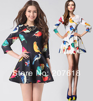 Western 2014 New Spring Women Ladies Elegant Print Princess Dress Sexy Mini Prom Dress Party Dresses