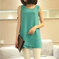 2014 summer plus size clothing loose sleeveless double layer chiffon shirt all-match vest top basic shirt t-shirt