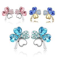 New 2014 Lucky four leaf earrings Austrian crystal - Sweet Clover earrings