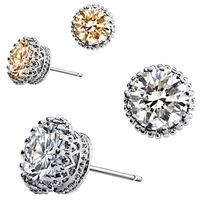 New 2014 men and women Pierced jewelry crown earrings unisex round zircon - royal lineage 0
