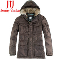 Large fur collar Men 2014 with a hood coat medium-long down male thickening