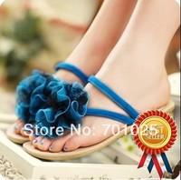 FREE SHIPPING 2014 flip flops flat heel  soft outsole big flower  all-match women's beach slippers