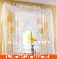 New design handmade inkjet ready made sheer curtains (150*245) red,yellow,purple  Free shipping