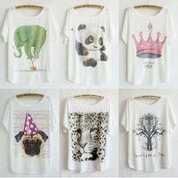 C series 10pcs mix order Wholesale 2014 New T Shirt Women Clothing Cartoon Printed Short Batwing Sleeve Tops Dropship