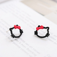 New arrival 2014 Fashion black kitten pink bow alloy hello kitty stud earring for women ladys children kids#1039