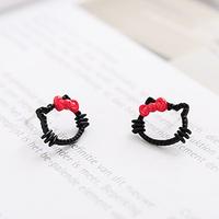 New arrival 2014 Fashion black kitten pink bow alloy hello kitty stud earring for women ladys children kids#1039