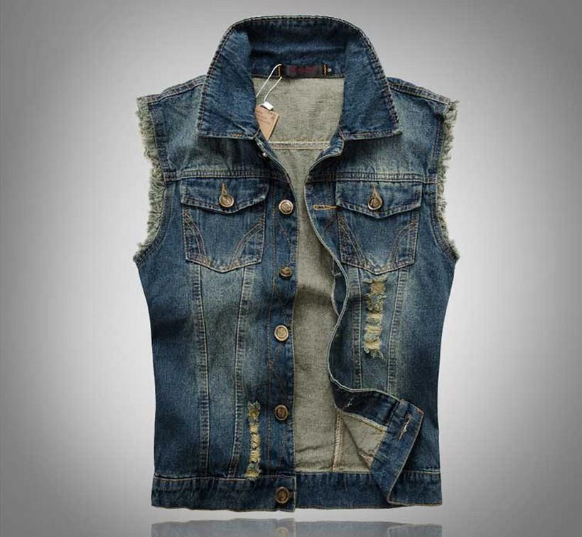 2014 New Fashion Designer Mens Sleeveless Jeans Short Jacket Jeans Vest Motorcycle Jeans Men Denim Vest,Plus Size,Free Shipping!(China (Mainland))