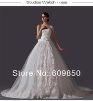 Free Shipping 2014 Latest  Strapless Swetheart Appliques Real Sample  Ball Gown  Bridal Lace Wedding Dress
