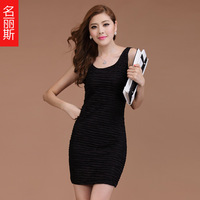 2014 spring one-piece dress plus size slim basic skirt slim hip sleeveless one-piece dress
