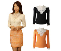 New 2014 Spring Lace Casual Woman Tops Tee shirt  Good quality Blouse Black White Orange  Lady  Formal Clothing C155