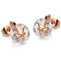 316L stainless steel titanium fox head inlaid zircon rose gold filled women earring