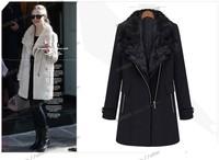 WOMENS pu leather sleeve zipper WOOL shoort Jacket COAT TRENCH outwear