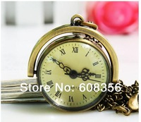 Wholesale 10pcs /lot  brass antique mechanical quartz pocket watch Necklace HY014 free shipping