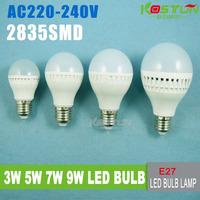 High brightness  E27 LED Bulb Lamp 2835SMD 3W 5W 7W 9W AC220V 230V 240V Cold white/warm white Free shipping