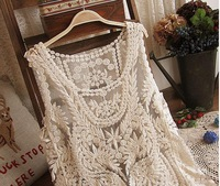 2014 spring new retro embroidered openwork crochet lace shirt blouse sleeveless vest