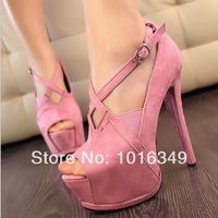 New 2014 Women Hot suede sexy European and American hollow Cross-belt metal fish head high-heels Pumps platform Nightclubs shoes