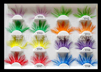 FREE SHIPPING in stock mix wholesale 10 pairs/lot Real Bird Feather Eyelash t show and art use party fether eyelashes