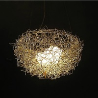 Silver/Golden Bird nest+eggs pendant lights aluminum Bird's nest pendant lamp restaurant /balcony/aisle light 3-5 buls G4 source