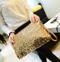 2014  Evening Bag Dazzling Sequins Handbag Women Wallet Purse Glitter Spangle Day Clutches