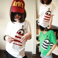 Harajuku women's 2014 summer basic shirt young girl top stripe short-sleeve HARAJUKU t-shirt