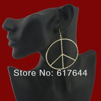 Exaggerated fashion brand metal ring earrings stud earrings earrings peace symbol