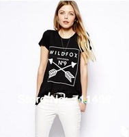 love potion NO9 female black letter short-sleeved double arrow round neck T-shirts