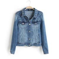 FS2487 S/M/L European Style full sleeve skulls printing Jean jacket /coat